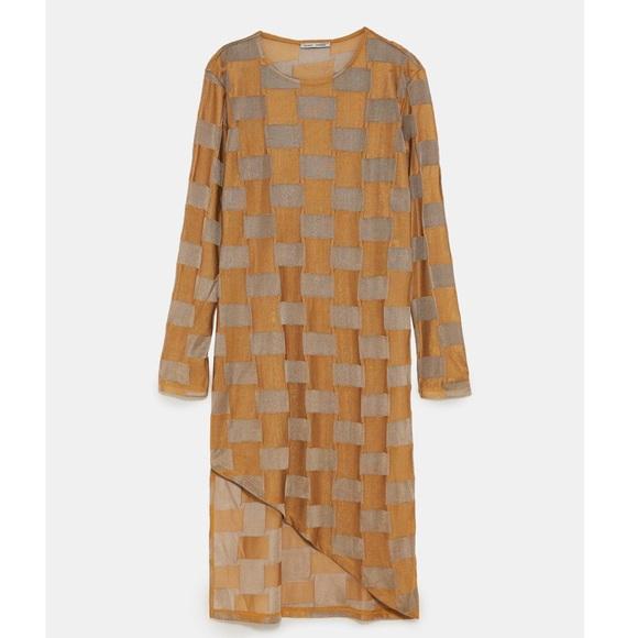Zara Tops - Zara Textured Checkered Tunic